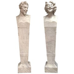 Pair of Signed Italian Marble Herms Satyr and Bacchante, 19th Century