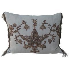 18th Century Italian Applique on Linen Pillow with Metallic Fringe