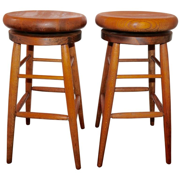 Pair Of Plank Top Swivel Industrial Bar Stools At 1stdibs