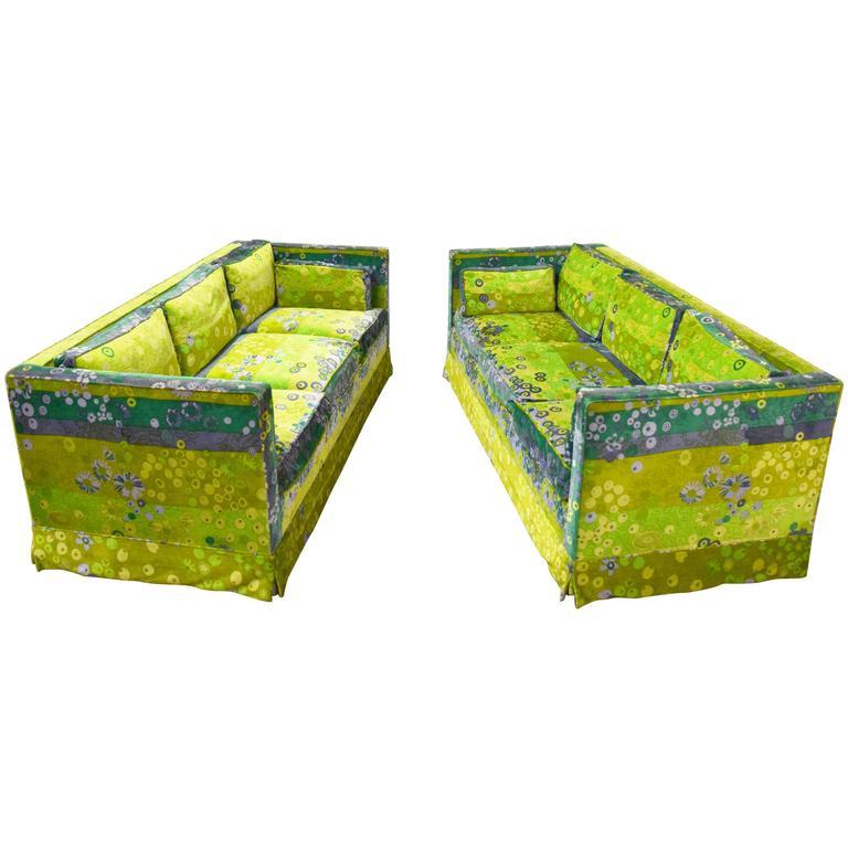 Pair of Mid-Century Box Sofas with Original Jack Lenor Larsen Fabric For Sale