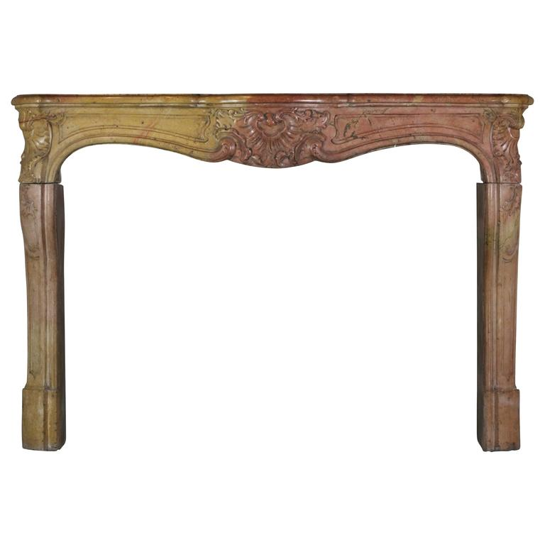 18th Century Antique Fireplace Mantel in Burgundy Bicolor Hard Stone