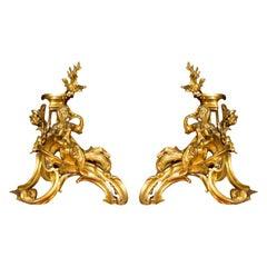 Pair of Ormolu Bronze Louis XV Chenets