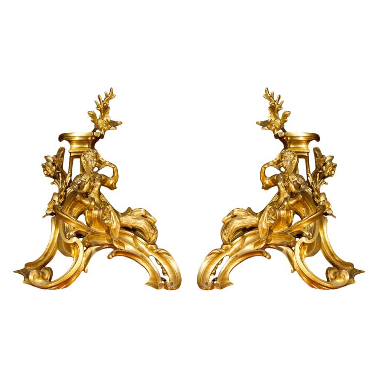 Pair of Ormolu Bronze Louis XV Chenets For Sale