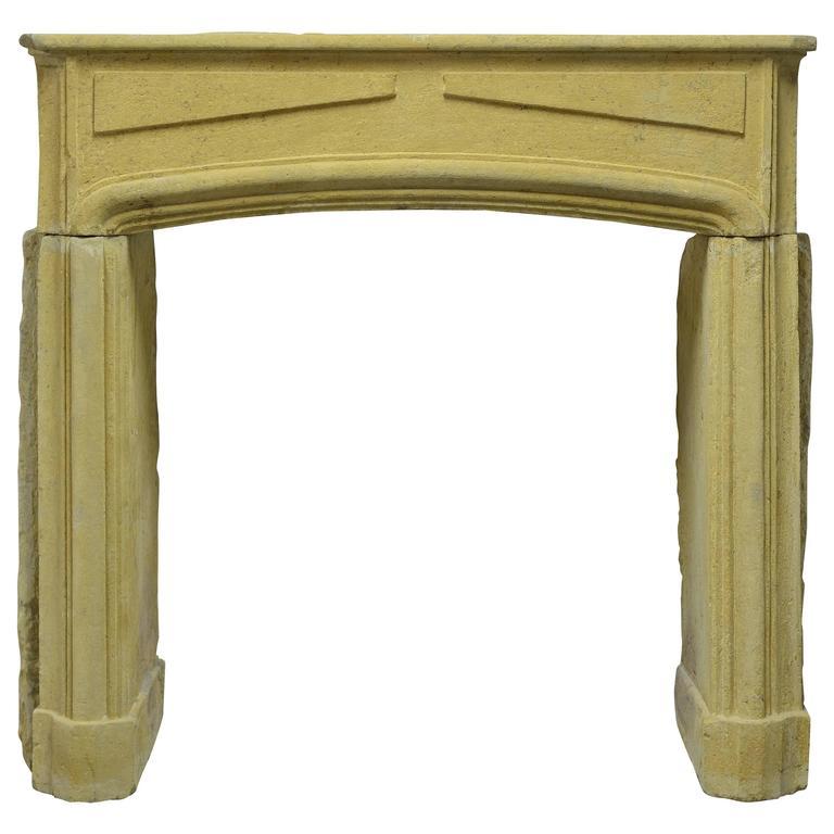 Rustic Limestone Louis XIV Fireplace Mantel For Sale