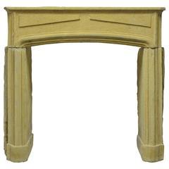 Heavy Antique Yellow Limestone Louis XIV Fireplace Mantel