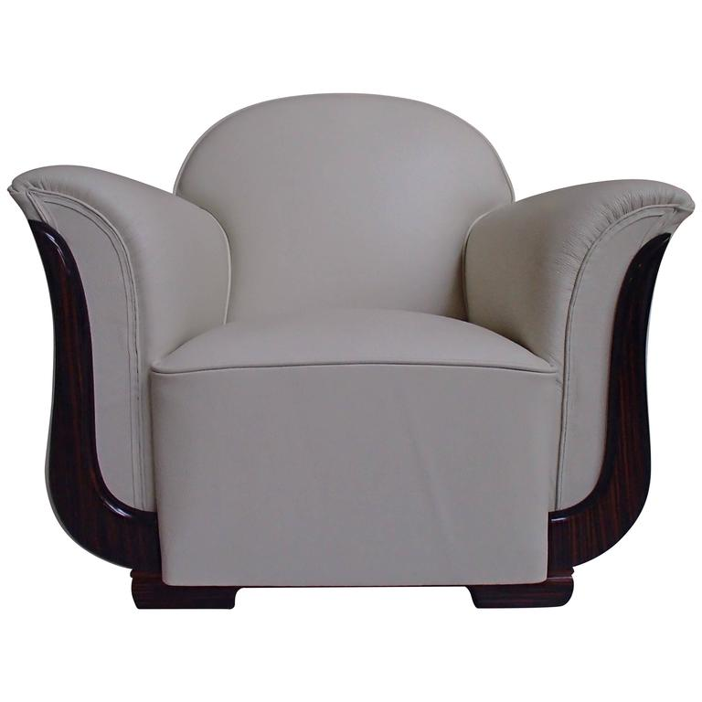 Art Deco Armchair Off-White Leather and Ebene de Macassar ...
