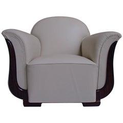 Art Deco Armchair Off-White Leather and Ebene de Macassar Decors