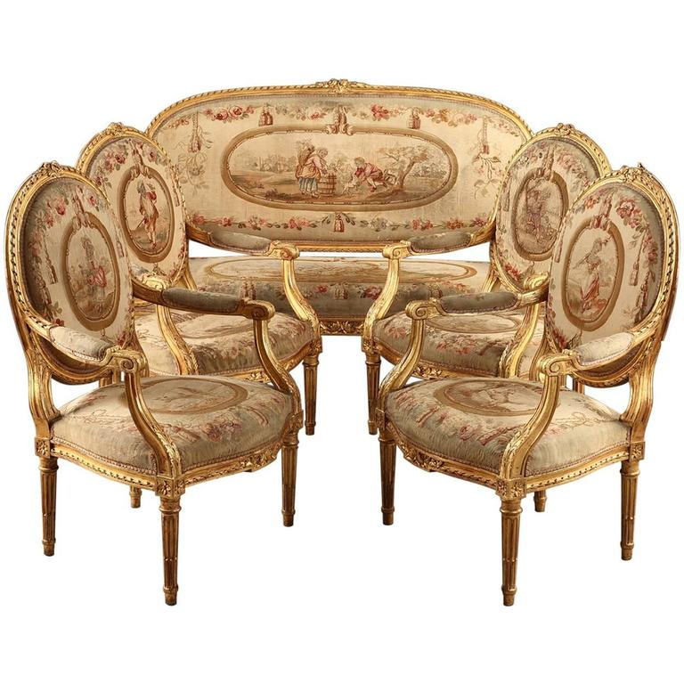 Salon Set In Giltwood, Louis XVI Style, Napoleon III Period For Sale
