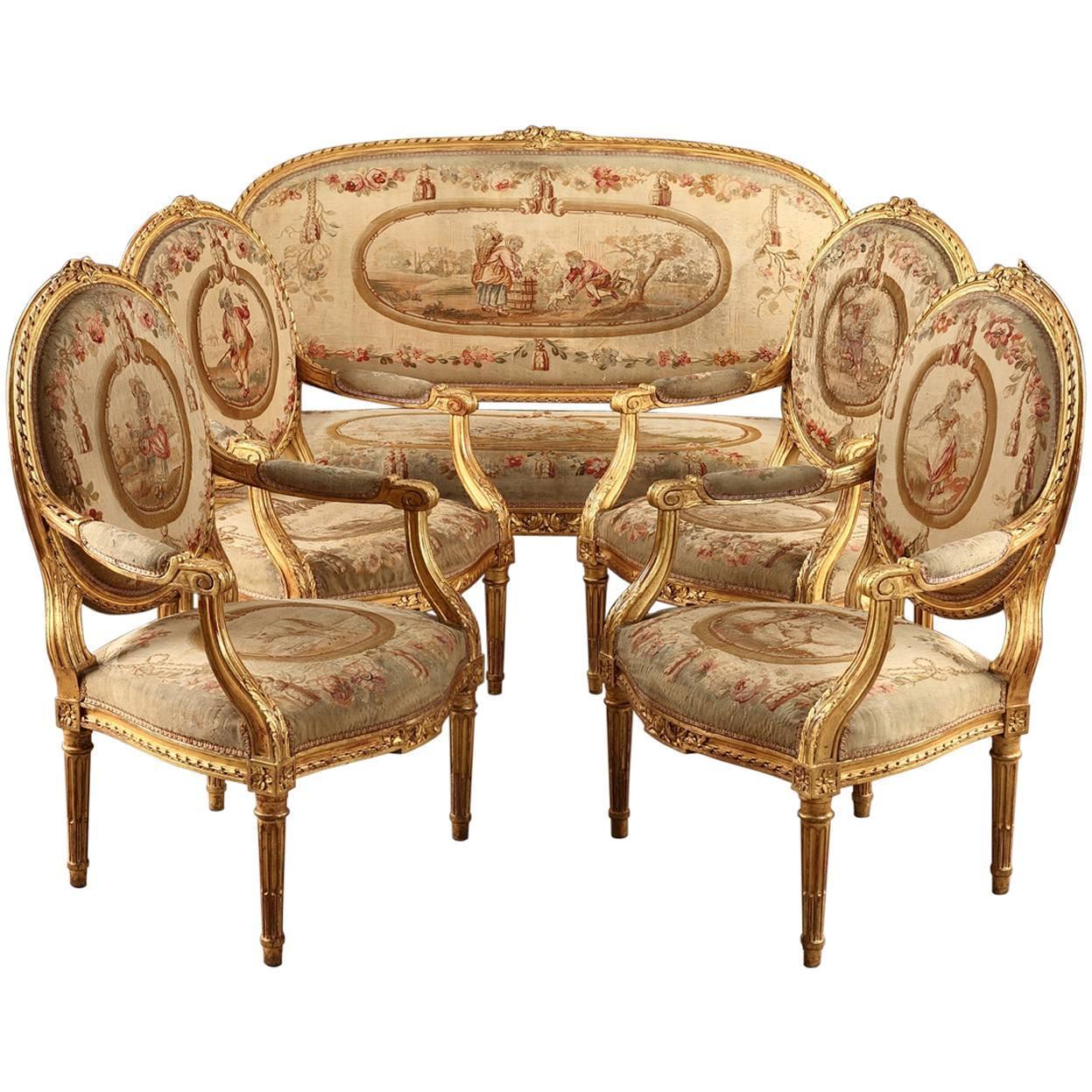 Salon Style Louis 16 salon set in giltwood, louis xvi style, napoleon iii period for sale