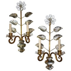 Set of Four Baguès Sconces Crystal Leaves and Flowers