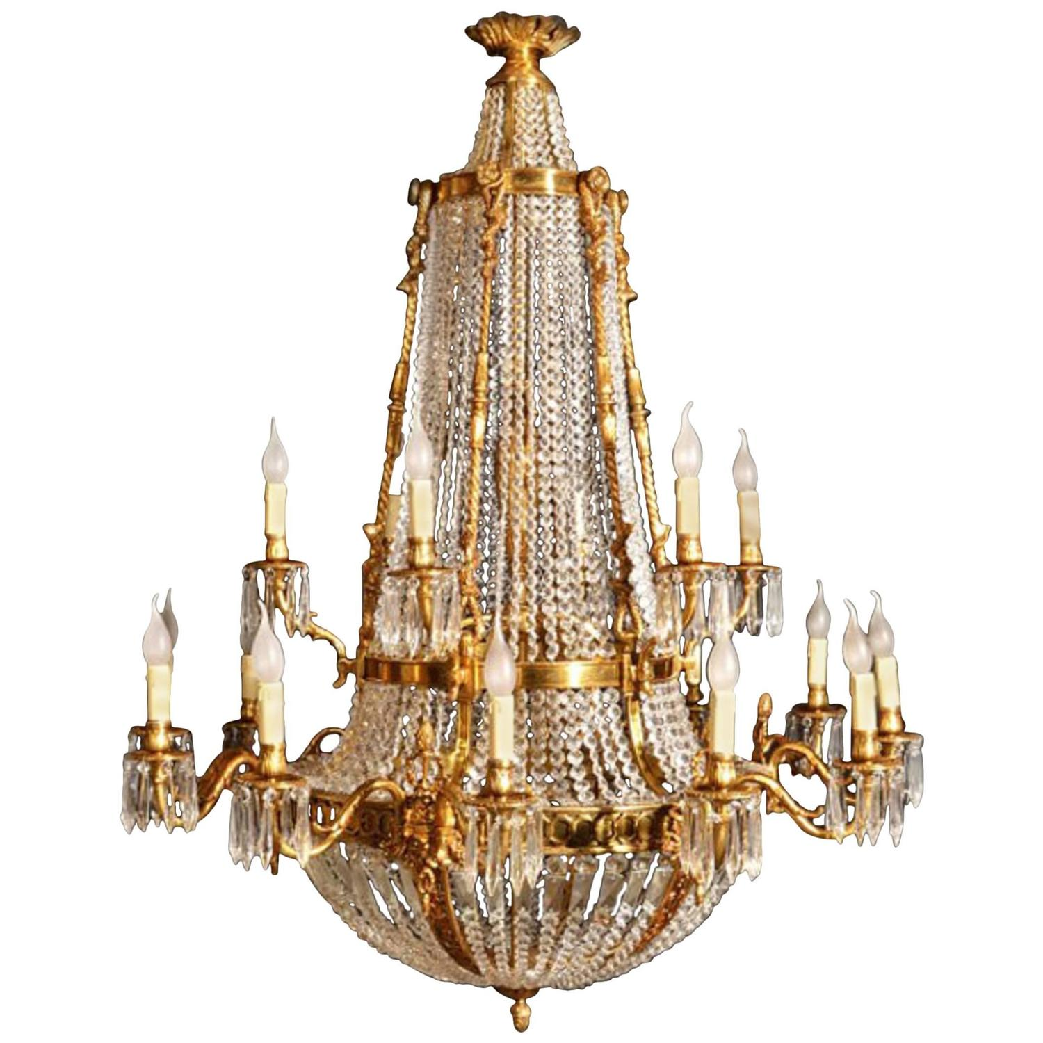 French Empire Two Tier Eighteen Light Ballroom Chandelier at 1stdibs