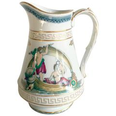 19th Century French Limoges Greek Key & 22K Hand Painted Porcelain Pitcher