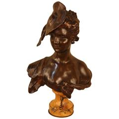 French Art Nouveau Bronze Bust of Young Woman by Georges Van der Straeten