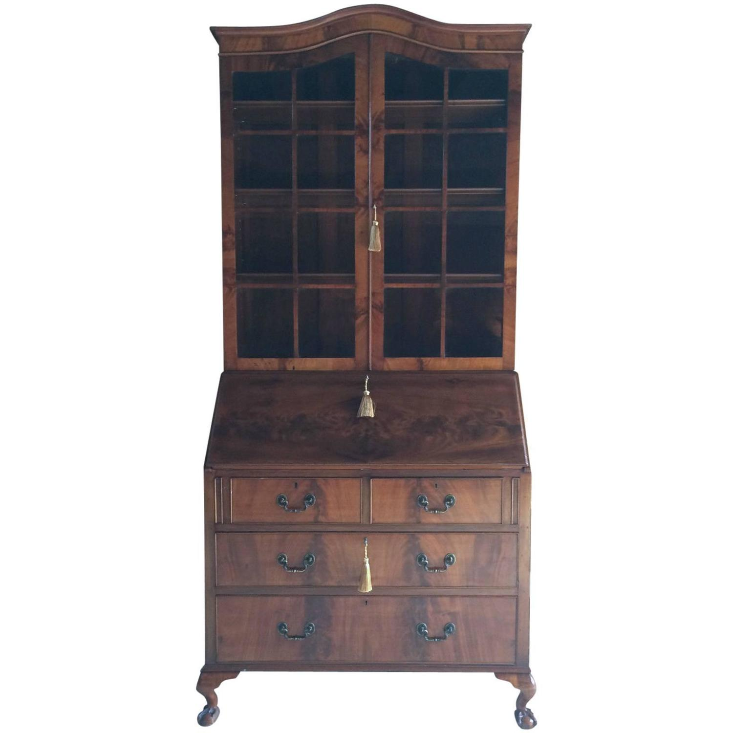 antique style writing bureau bookcase secretaire mahogany at 1stdibs. Black Bedroom Furniture Sets. Home Design Ideas