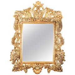 Huge Decorative Ornate Florentine Giltwood Mirror 190 x 150 cm