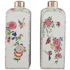 Pair of Famille Rose Square Canisters, 18th Century