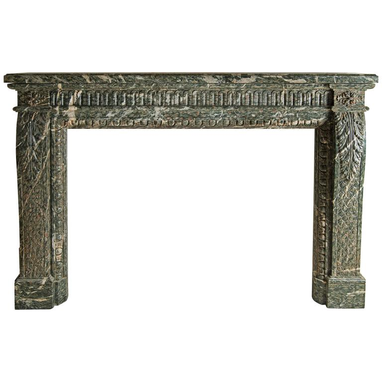 Louis XV Green Marble Fireplace