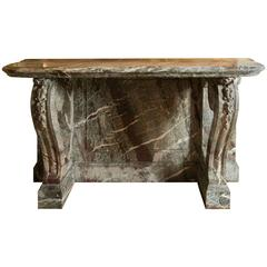 Beautiful Console in Green Campan Marble Louis XIV Style, 19th Century