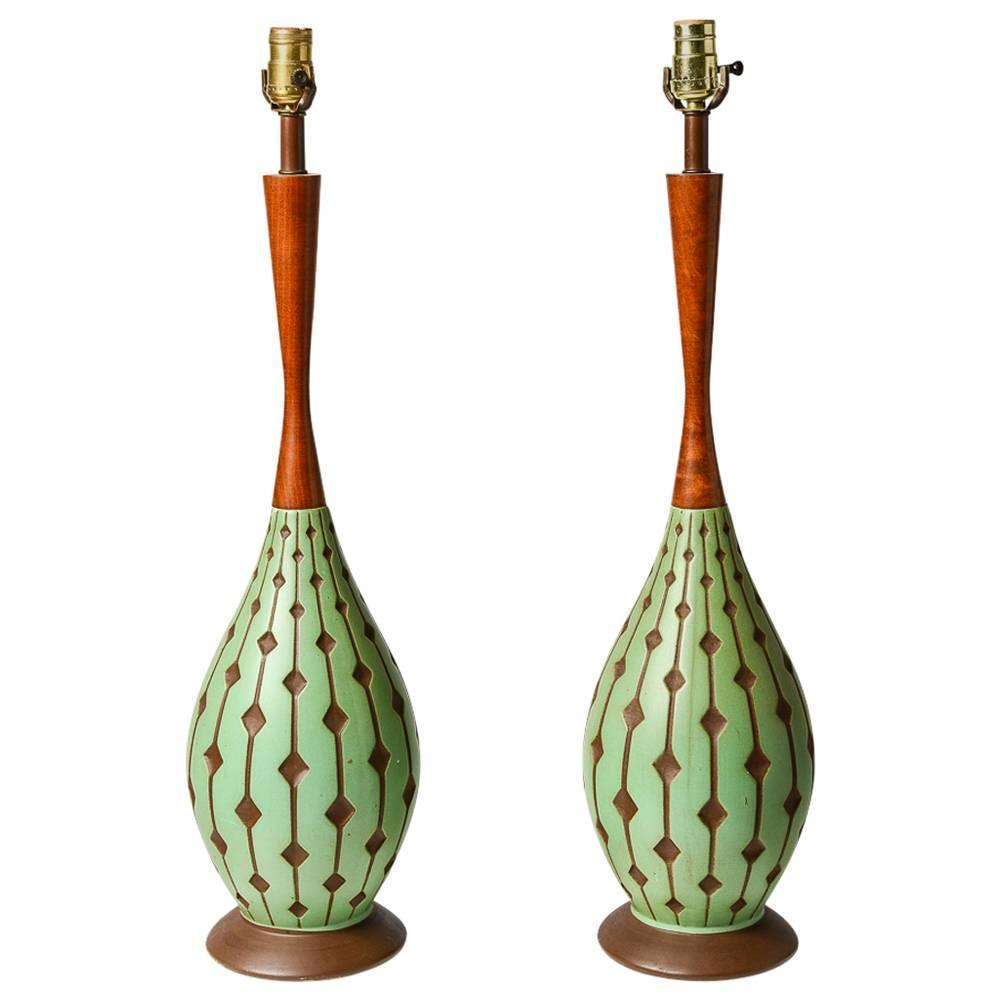 Mid Century Vintage Lights For Sale: Danish Mid-Century Modern Style Ceramic And Teak Lamp