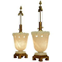 Monumental Pair of Alabaster Marbro Lamps with 24-Karat Gold Leaf