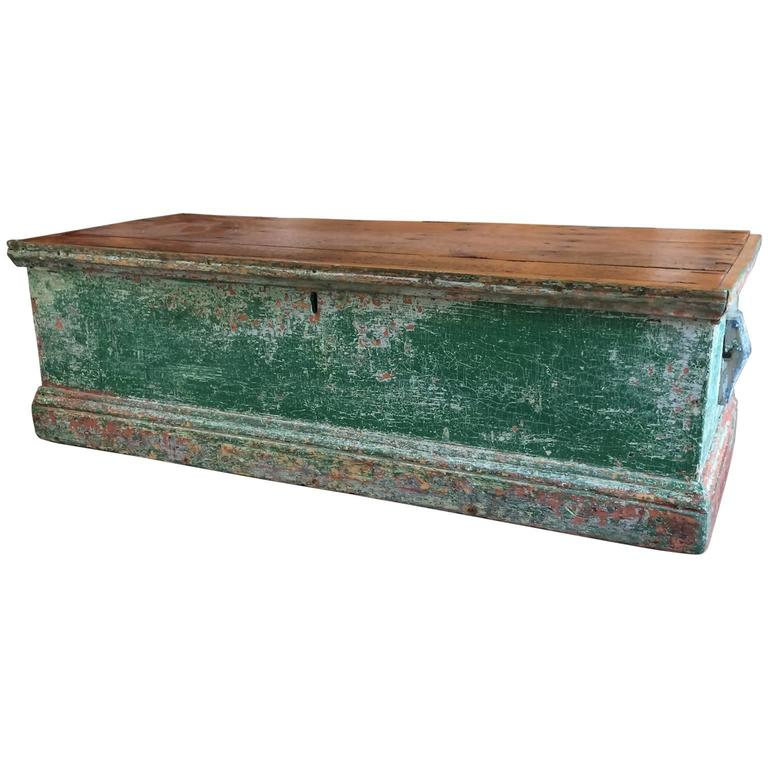 Sea Chest in Green Paint For Sale