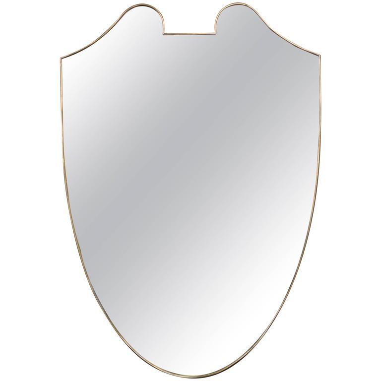 Large Mid-Century Modern Italian Brass Mirror