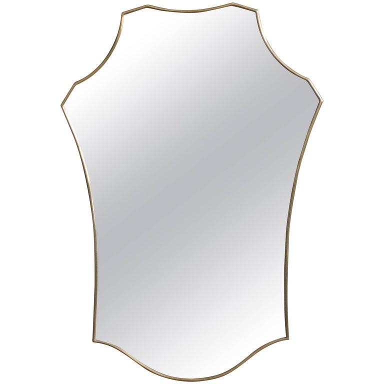 Mid-Century Modern Italian Brass Mirror For Sale