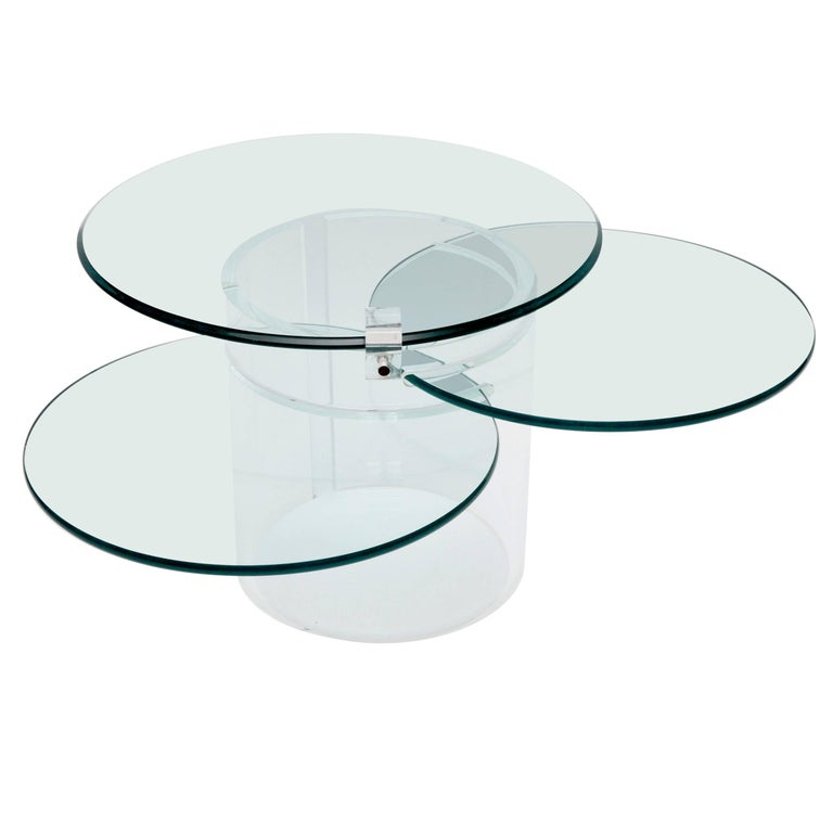 Three-Tiered Lucite Coffee Table, 1970s, USA For Sale
