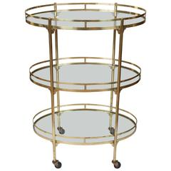 Three-Tiered Vintage Brass Bar Cart from Italy