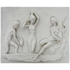 Vintage Art Deco German Carl Werner Bisque Sculptural Female Nudes Plaque