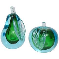 Mid-Century Modern Italian Murano Alfredo Barbini Glass Bookends Pear / Apple