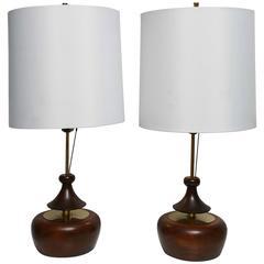 Pair of Mid-Century Danish Modern Myrtle / Brass Teardrop Modeline Table Lamps