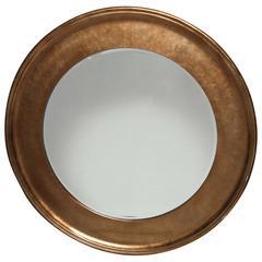 Vintage Oggetti Hollywood Regency Bronze Beveled Round Mirror