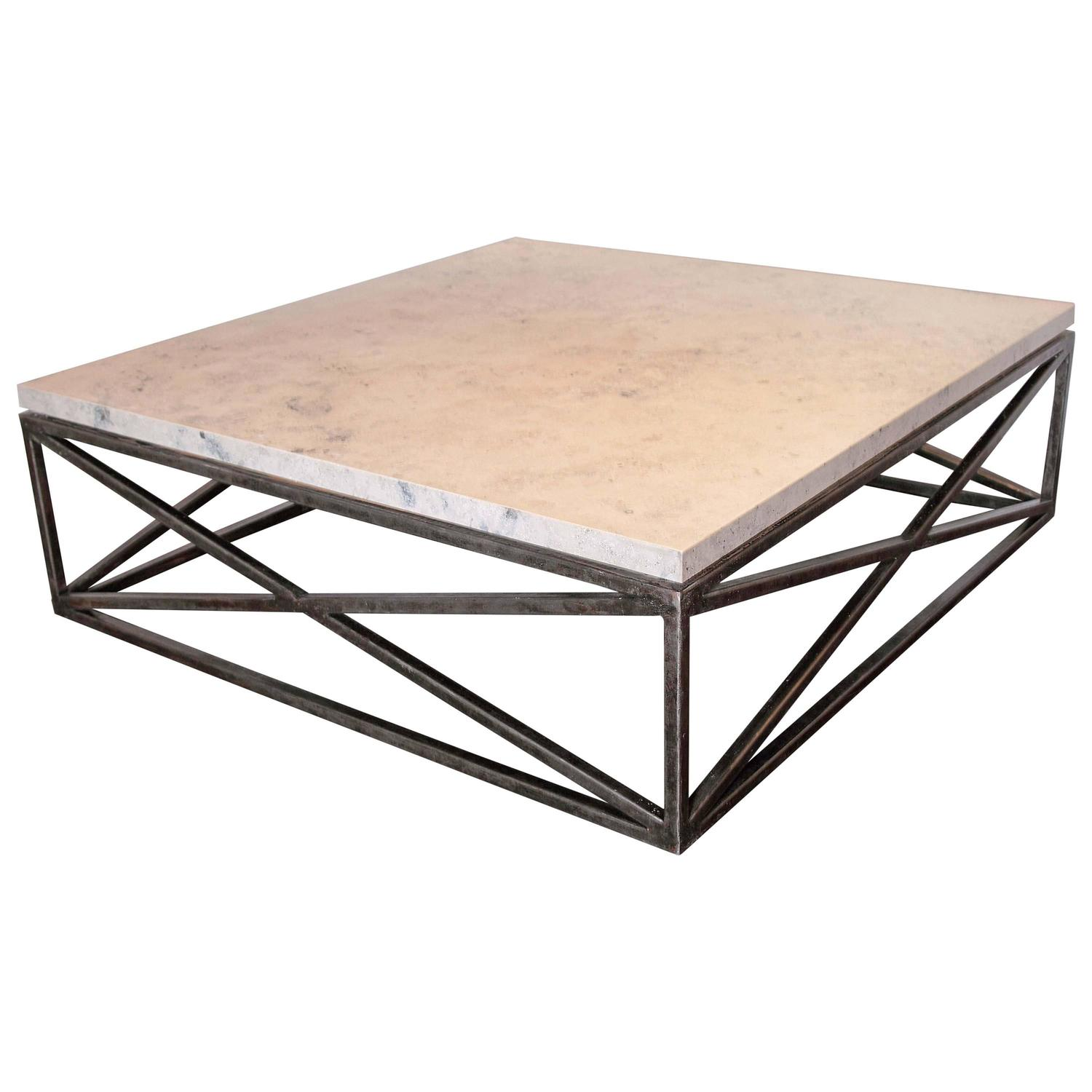 Marble Limestone Transitional X Base Coffee Table For