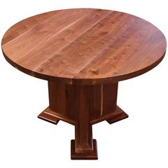Round Walnut Farm Table with Y Style Wooden Stepped Base