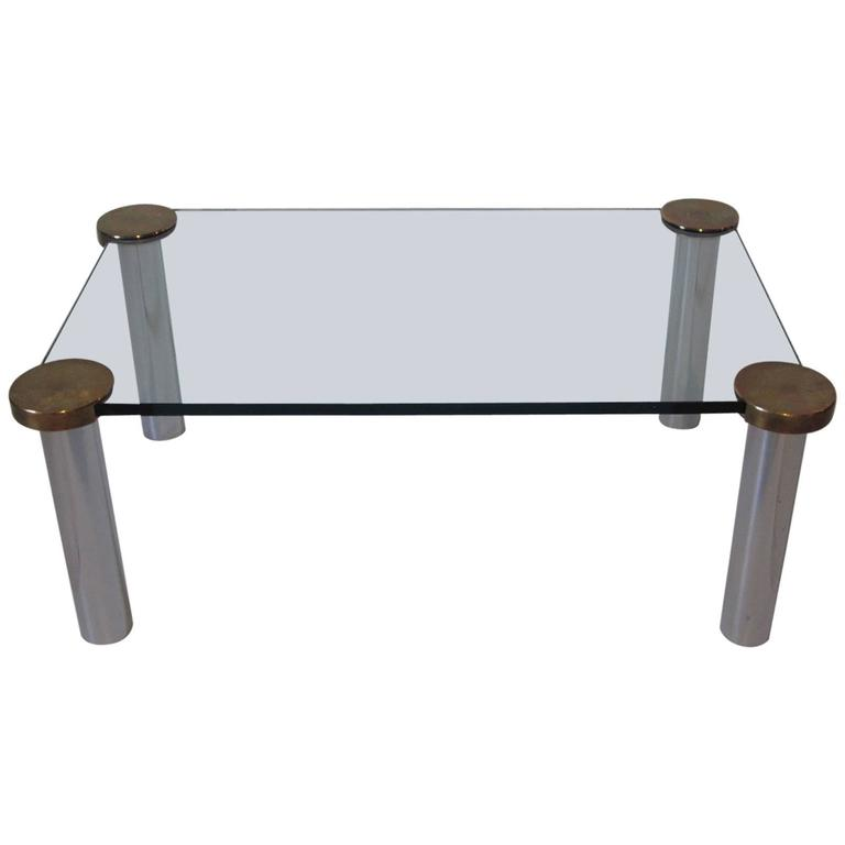 Chrome, Brass and Plate Glass Coffee Table In the Manner of Pace