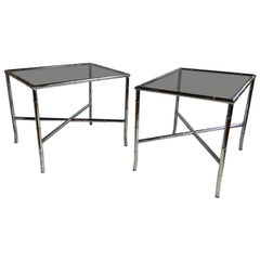 Mid-Century Modern Chinoiserie Faux Bamboo Side Tables