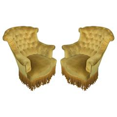 Pair of French 19th Century Gold Velvet Armchairs