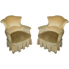 Pair of French, 19th Century Armchairs in Faded Gold Velvet