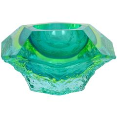 Mandruzzato Mint, Lime and Blue Faceted and Ice Glass Sommerso Murano Bowl