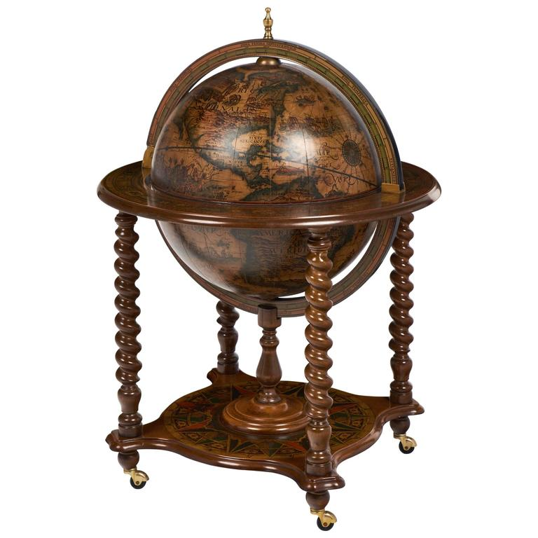 vintage italy globe bar cart side table at 1stdibs. Black Bedroom Furniture Sets. Home Design Ideas