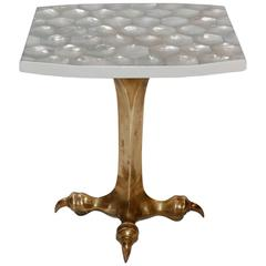Elegant Mother-of-Pearl Sculptural Side Table