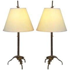 Pair of Natural Bronze Hand-Wrought Lamps after Giacometti