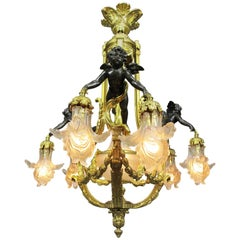 A Fine French 19th-20th Century Belle Epoque Gilt Bronze Cherub Chandelier