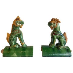 Pair of Antique Chinese Foo Dog Roof Tiles