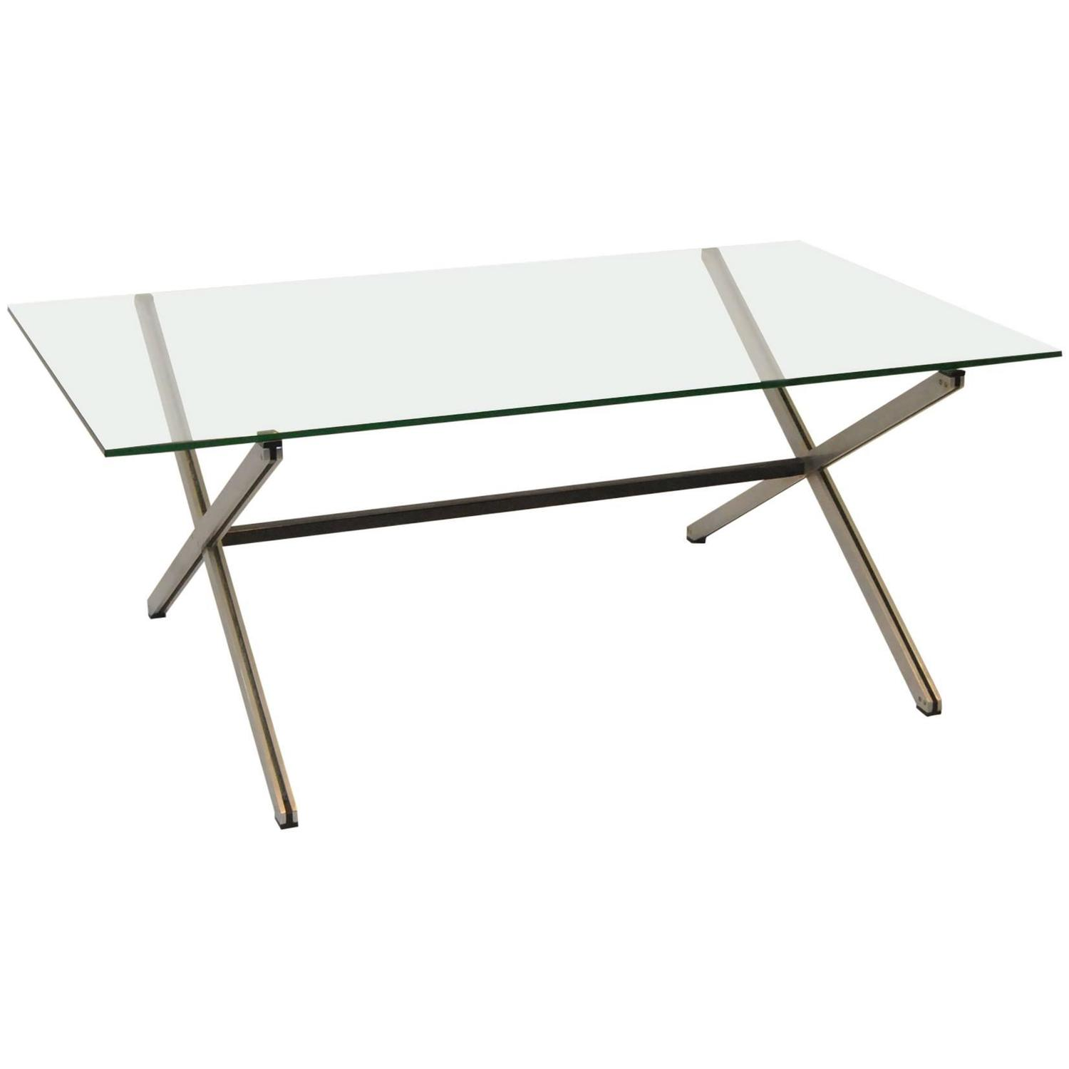 Mid century modern glass top parallel cocktail table by for Contemporary glass cocktail tables