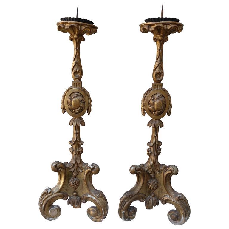 Pair of 19th Century Giltwood Italian Candlesticks