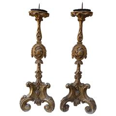 Pair of 19th Century Giltwood Italian Candlesticks