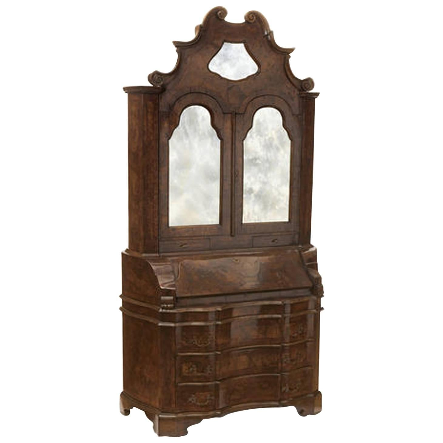 Antique Italian Baroque Style Burl Walnut Secretary Cabinet