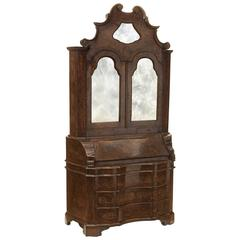 Antique Italian Baroque Style Burl Walnut Secretary Cabinet